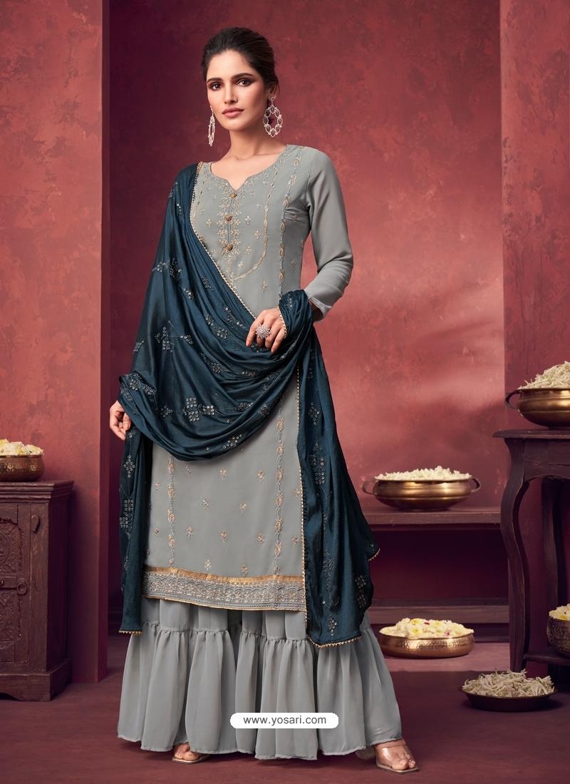 Grey Latest Designer Georgette Palazzo Salwar Suit
