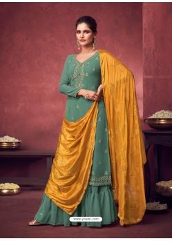 Teal Latest Designer Georgette Palazzo Salwar Suit