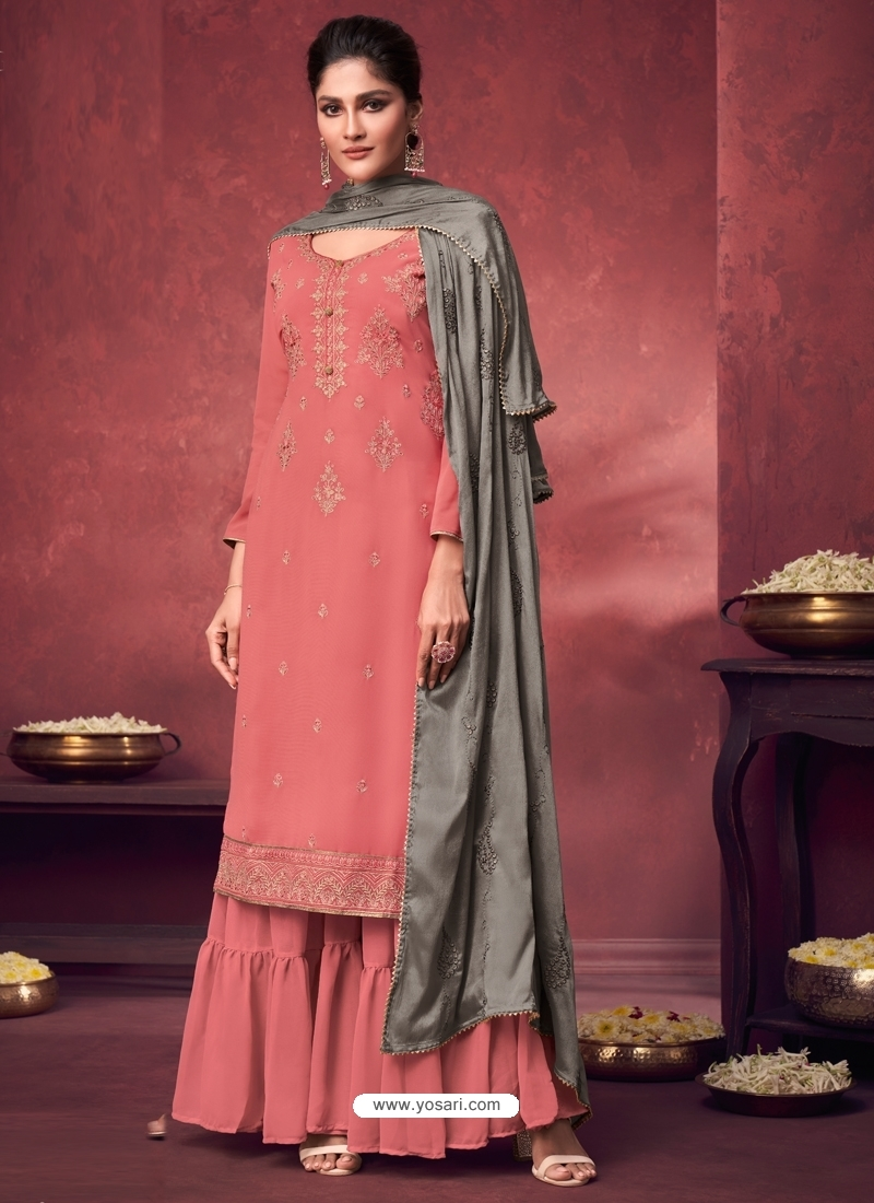 Peach Latest Designer Georgette Palazzo Salwar Suit