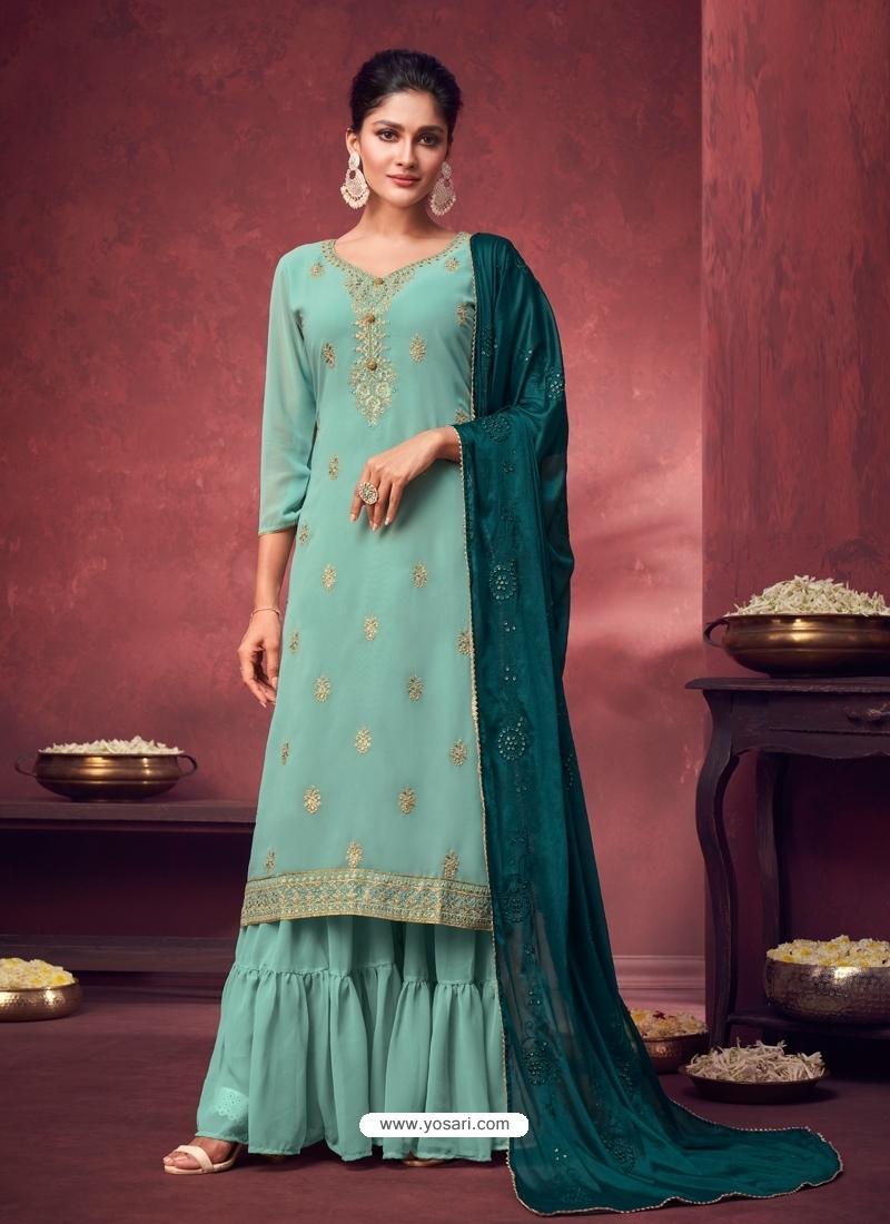 Sky Blue Latest Designer Georgette Palazzo Salwar Suit