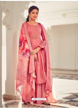 Peach Latest Designer Pure Jam Cotton Palazzo Salwar Suit