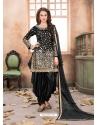 Black Latest Designer Tafeta Silk Punjabi Patiala Suit