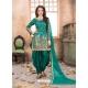 Turquoise Latest Designer Tafeta Silk Punjabi Patiala Suit