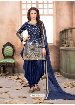 Dark Blue Latest Designer Tafeta Silk Punjabi Patiala Suit
