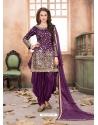 Purple Latest Designer Tafeta Silk Punjabi Patiala Suit