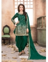 Dark Green Latest Designer Tafeta Silk Punjabi Patiala Suit