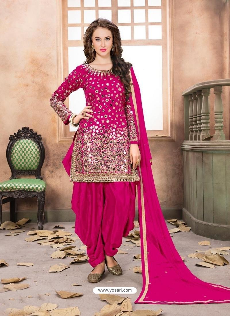 Rani Latest Designer Tafeta Silk Punjabi Patiala Suit