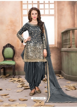 Dark Grey Latest Designer Tafeta Silk Punjabi Patiala Suit