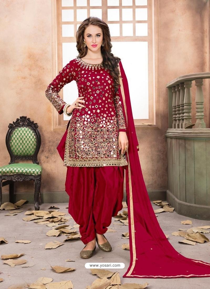 Crimson Latest Designer Tafeta Silk Punjabi Patiala Suit