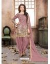 Dusty Pink Latest Designer Tafeta Silk Punjabi Patiala Suit