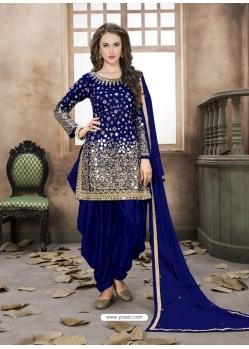 Royal Blue Latest Designer Tafeta Silk Punjabi Patiala Suit
