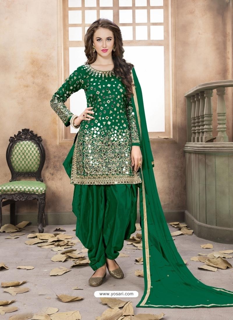 Forest Green Latest Designer Tafeta Silk Punjabi Patiala Suit
