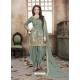 Grayish Green Latest Designer Tafeta Silk Punjabi Patiala Suit