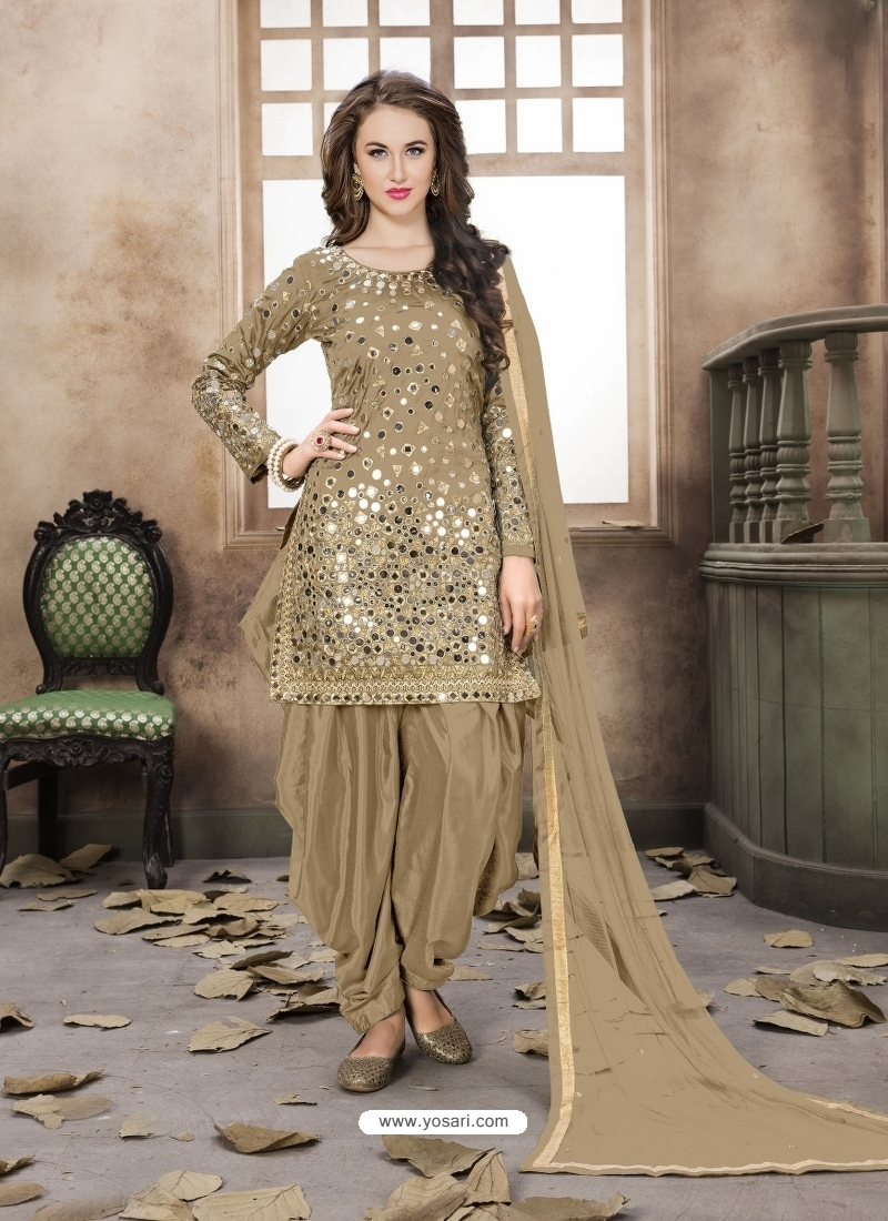 Gold Latest Designer Tafeta Silk Punjabi Patiala Suit