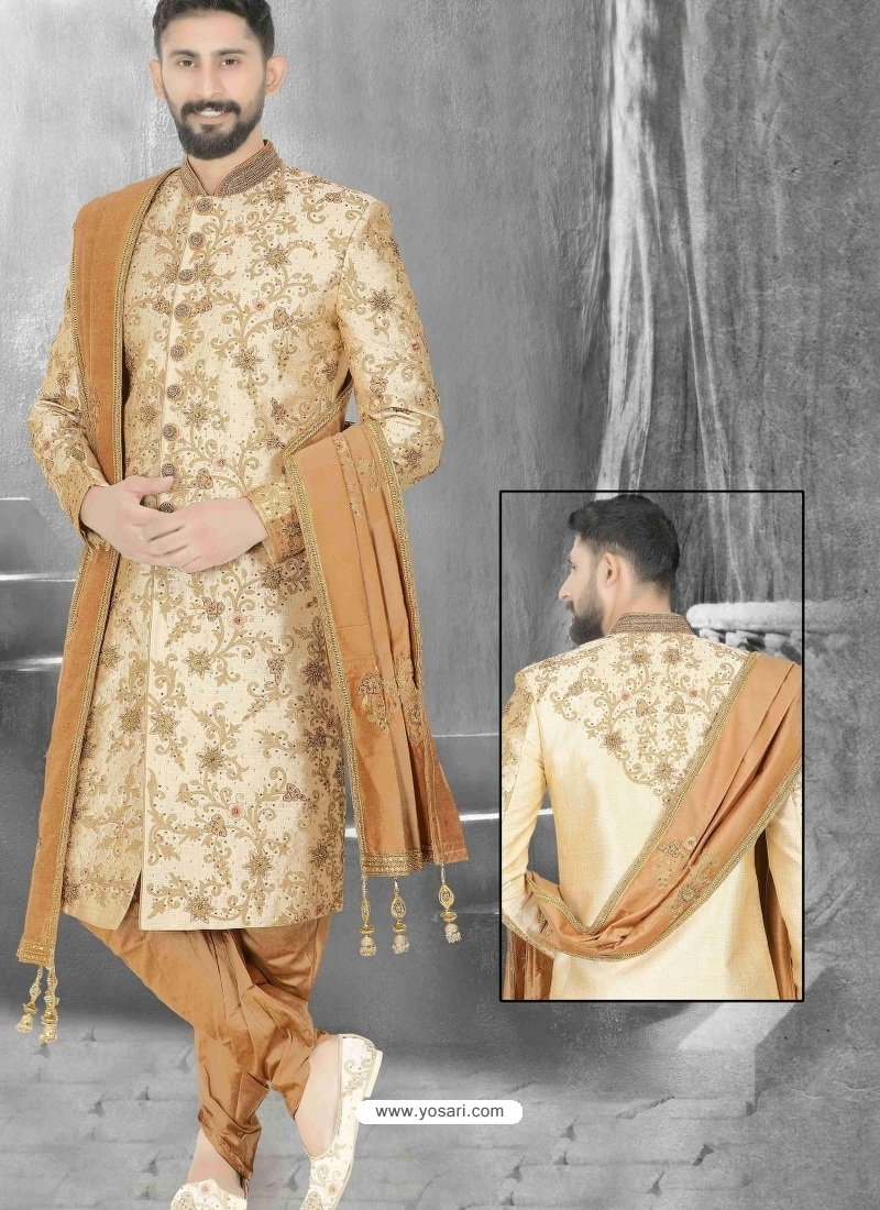 Light Beige Exclusive Readymade Designer Wedding Sherwani