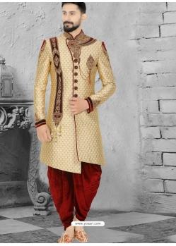 Beige Exclusive Readymade Designer Wedding Sherwani