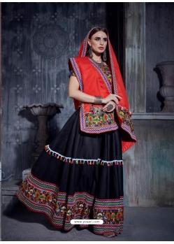 Black Navratri Special Designer Japanese Cotton Lehenga Choli