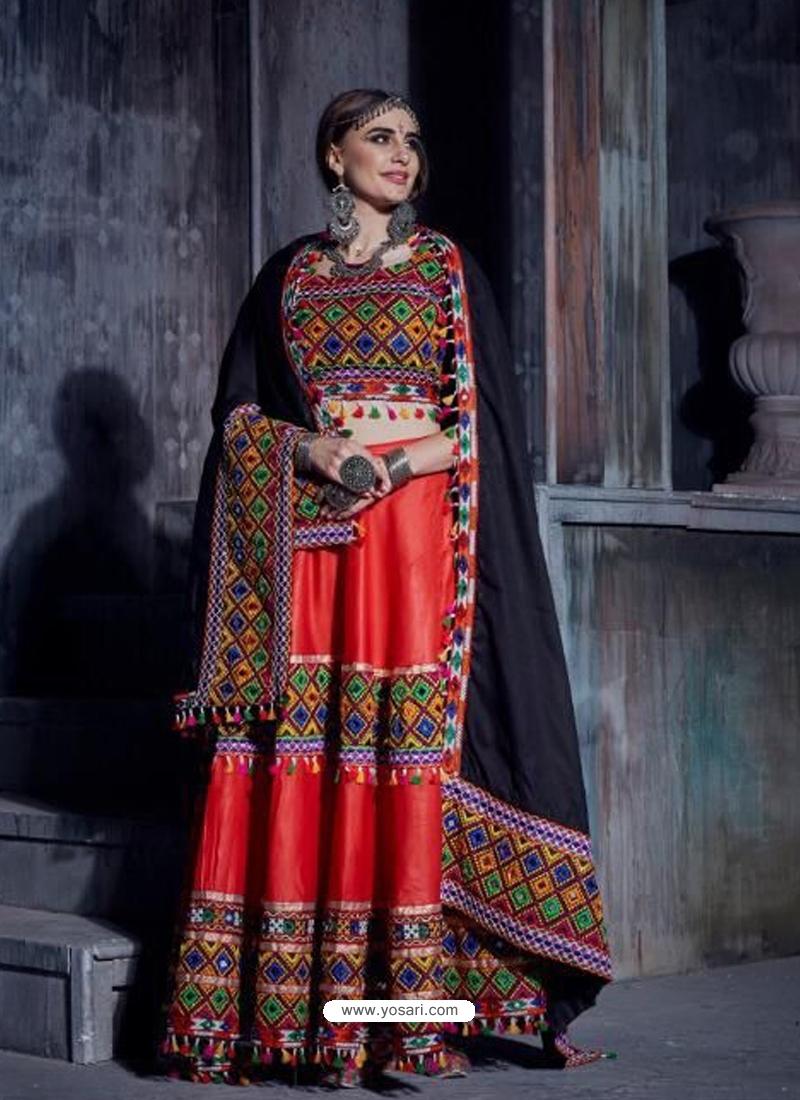 Red Navratri Special Designer Japanese Cotton Lehenga Choli