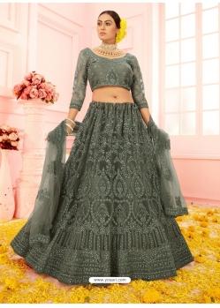 Grayish Green Heavy Designer Bridal Wear Net Lehenga Choli