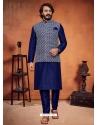 Navy Blue Exclusive Readymade Designer Kurta With Jacket