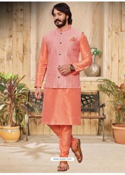 Light Orange Exclusive Readymade Designer Kurta With Jacket