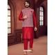 Tomato Red Exclusive Readymade Designer Kurta With Jacket
