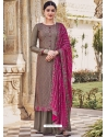 Taupe Latest Designer Heavy Chinnon Palazzo Salwar Suit