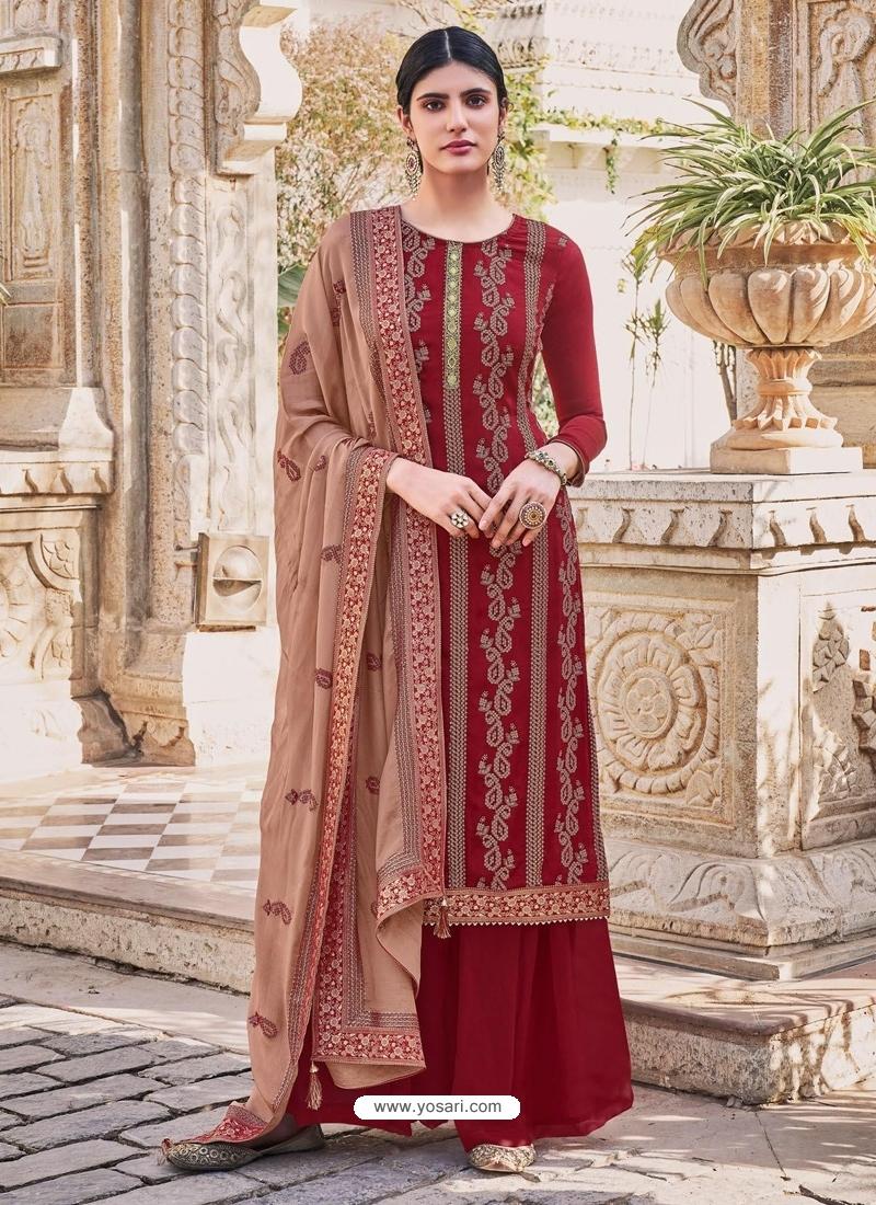 Maroon Latest Designer Heavy Chinnon Palazzo Salwar Suit