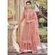 Light Orange Latest Designer Heavy Chinnon Palazzo Salwar Suit