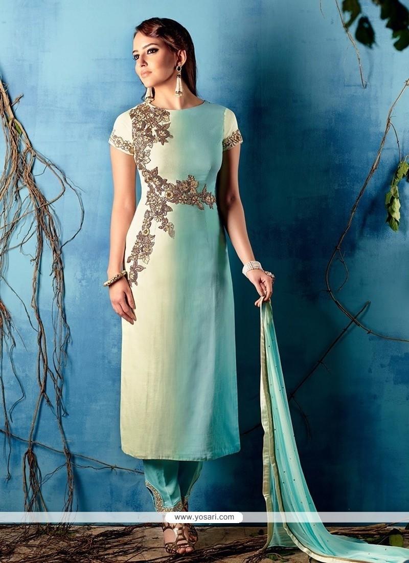 Shop online Cream and Blue Cotton Satin Designer Salwar Kameez