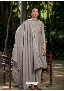 Grey Latest Designer Viscose Muslin Palazzo Salwar Suit