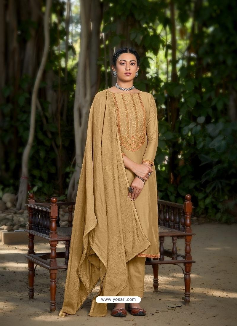 Mustard Latest Designer Viscose Muslin Palazzo Salwar Suit