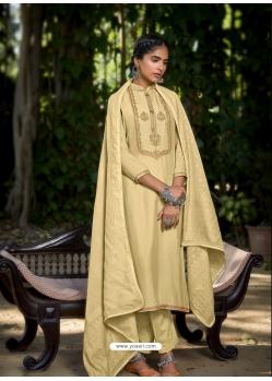 Cream Latest Designer Viscose Muslin Palazzo Salwar Suit