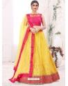 Yellow Designer Party Wear Mono Net Lehenga Choli