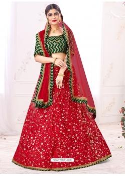 Tomato Red Designer Party Wear Mono Net Lehenga Choli