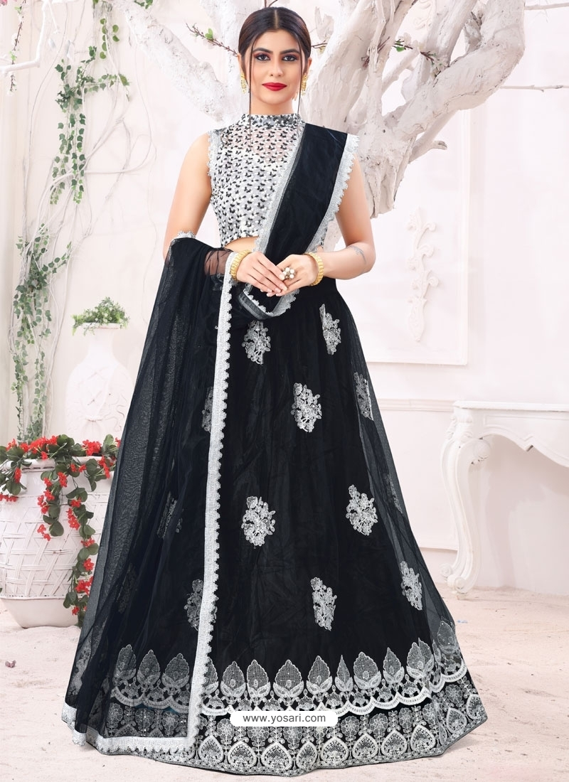 Black Designer Party Wear Mono Net Lehenga Choli