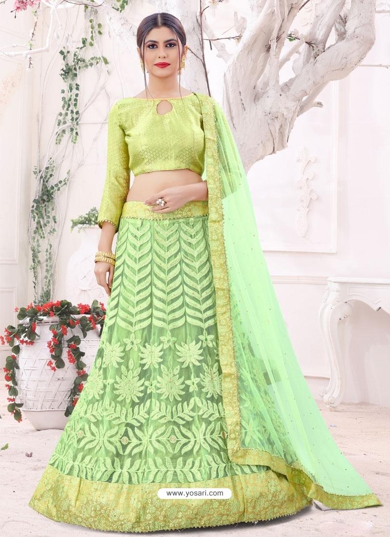 Green Designer Party Wear Mono Net Lehenga Choli