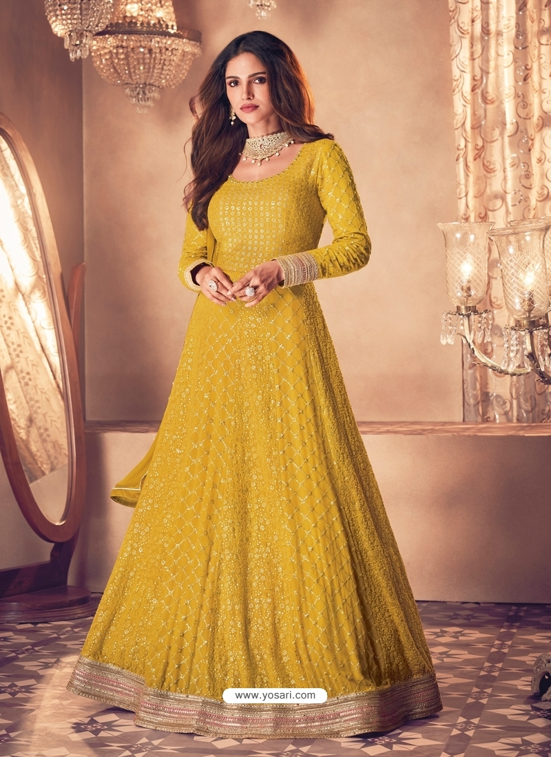 Yellow Latest Designer Real Georgette Indo Western Suit