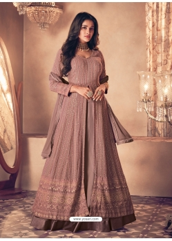 Light Brown Latest Designer Real Georgette Indo Western Suit