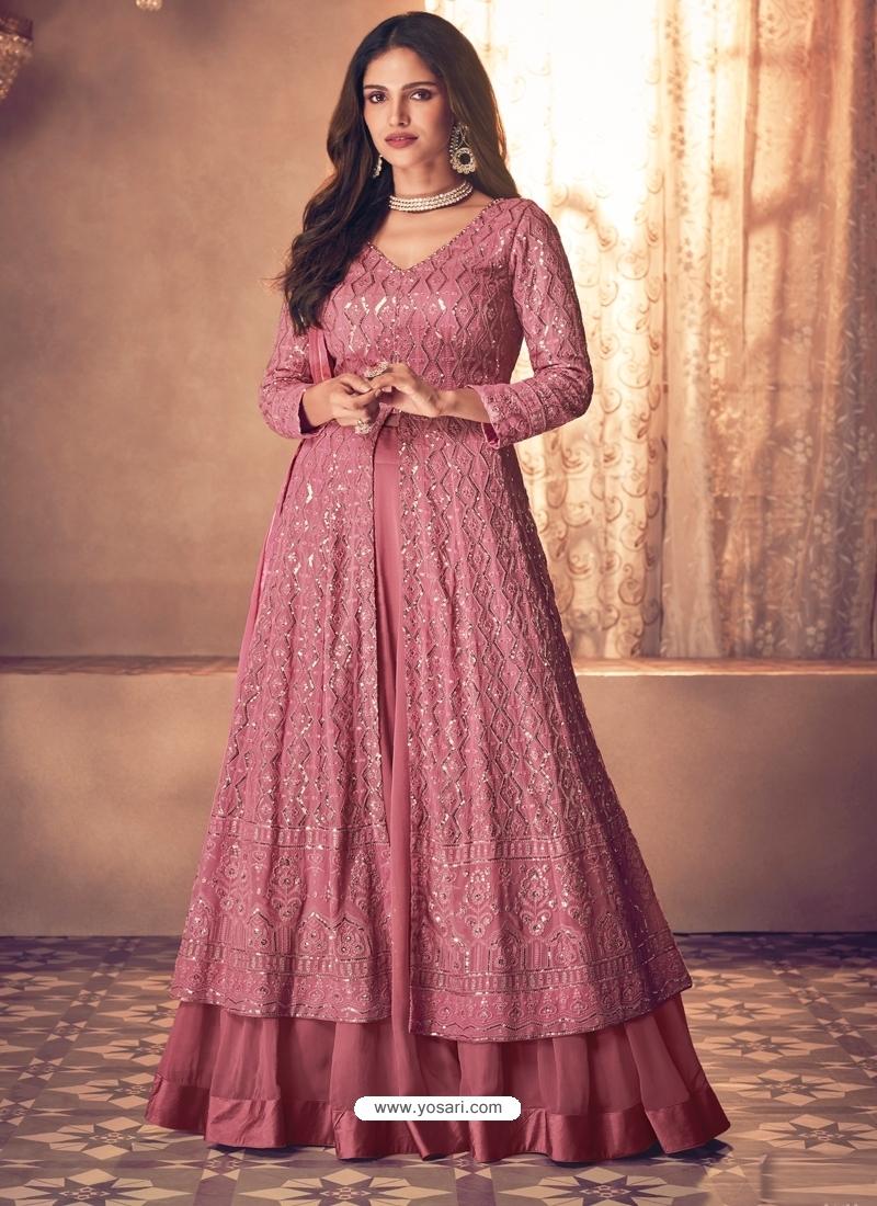 Old Rose Latest Designer Real Georgette Indo Western Suit