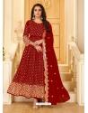 Tomato Red Latest Designer Pure Georgette Anarkali Suit