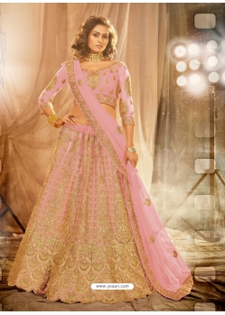 Pink Designer Wedding Wear Net Lehenga Choli