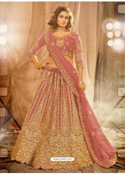 Old Rose Designer Wedding Wear Net Lehenga Choli