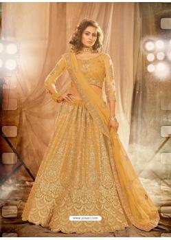 Mustard Designer Wedding Wear Net Lehenga Choli