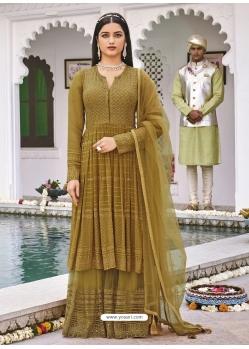 Mehendi Latest Designer Pure Georgette Palazzo Salwar Suit