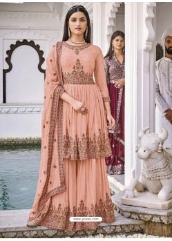 Light Orange Latest Designer Pure Georgette Palazzo Salwar Suit