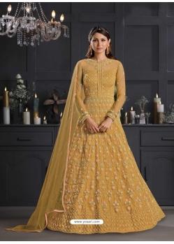 Mustard Designer Party Wear Butterfly Net Indo Western Suit