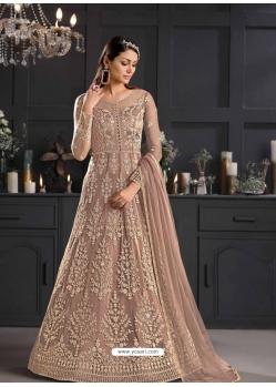 Beige Designer Party Wear Butterfly Net Indo Western Suit