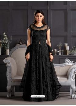 Black Designer Party Wear Butterfly Net Indo Western Suit