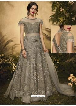 Grayish Green Latest Designer Wedding Wear Anarkali Suit